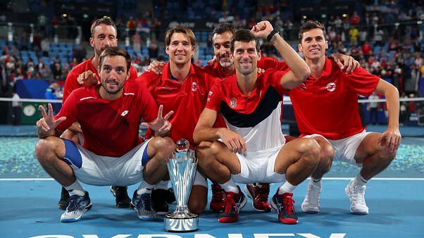 La nazionale serba, vincitrice della prima edizione della ATP Cup.