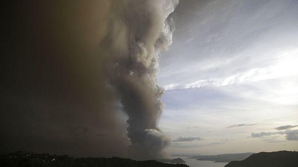 Taal volcano spews ash