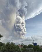 Taal volcano releases ash and smoke during an eruption in Tagaytay, south of Manila, Philippines, 12 January, 2020.