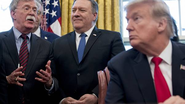 John Bolton, accompanied by Secretary of State Mike Pompeo, and President Donald Trump