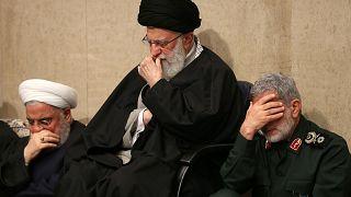 İran lideri Ali Hamaney, Tuğgeneral İsmail Kaani ve İran Cumhurbaşkanı Hasan Ruhani