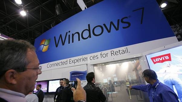 New York'taki bir fuarda Windows 7 standı