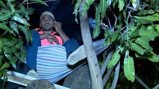 Richard descansa en su hamaca, colgada de las ramas de un mango
