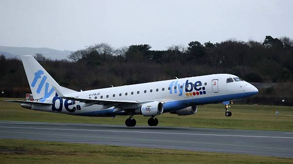 A Flybe flight departs from Manchester Airport, England, Monday Jan. 13, 2020.