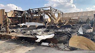 ABD askerleri 8 Ocak'ta İran'ın vurduğu Irak'ın Anbar bölgesindeki askeri üste incelemeler yapıyor