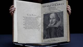 William Shakespeare's First Folio is displayed at Christie's auction rooms in London, Monday, Jan. 13, 2020.
