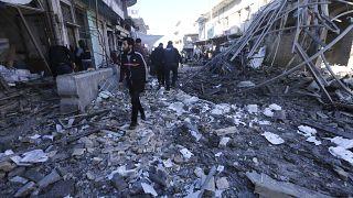 صورة ارشيفية لغارة سابقة على إدلب