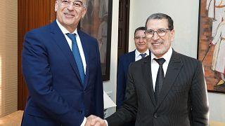 Ο υπουργός Εξωτερικών, Νίκος Δένδιας με τον πρωθυπουργό του Μαρόκου, Saad Eddine El Othmani