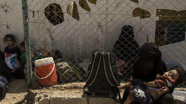 نساء وأطفال مرتبطون بمقاتلي جماعة الدولة الإسلامية في مخيم الهول 3 يونيو/حزيران 2019