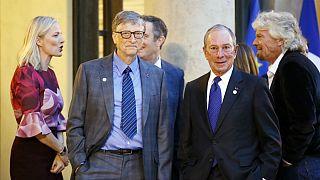 مایکل بلومبرگ، نامزد دموکرات انتخابات ریاست جمهوری آمریکا در کنار بیل گیتس، بنیانگذار شرکت مایکروسافت