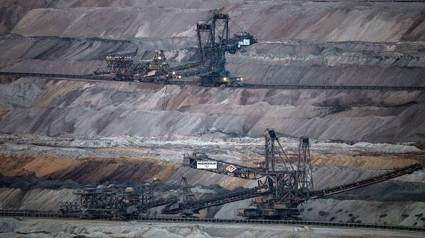Mining machines work in the Hambach opencast lignite mine