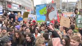 Watch: Greta Thunberg attends rally in Switzerland ahead of Davos