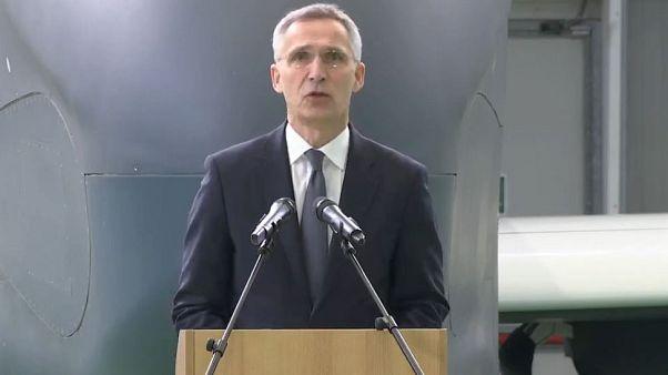 NATO's Jens Stoltenberg makes remarks at NATO's alliance Ground Surveillance aircraft