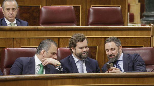Los líderes de Vox en el Congreso. De dcha. a izda. Santiago Abascal, Ivan Espinosa de los Monteros y  Javier Ortega Smith el 3 de diciembre.