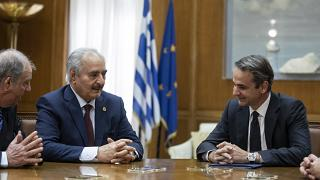 General Halife Hafter ve Yunanistan Başbakanı Kyriakos Mitsotakis