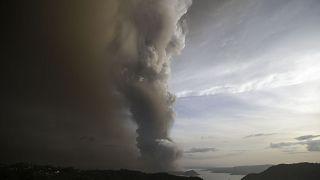 Taal Volcano spews ash as it erupts Sunday Jan. 12, 2020, in Tagayta.