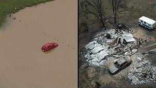 Tempestades provocam cheias em Queensland, o fogo continua a dizimar Victoria