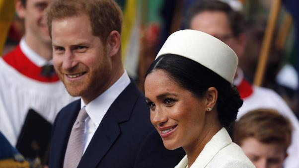 Britain's Prince Harry and Meghan, the Duchess of Sussex at Westminster Abbey in London on March 11, 2019.
