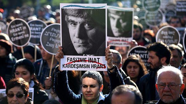 Hrant Dink cinayetinin yıl dönümünde İstanbul'da düzenlenen bir eylem, 19 Ocak 2015