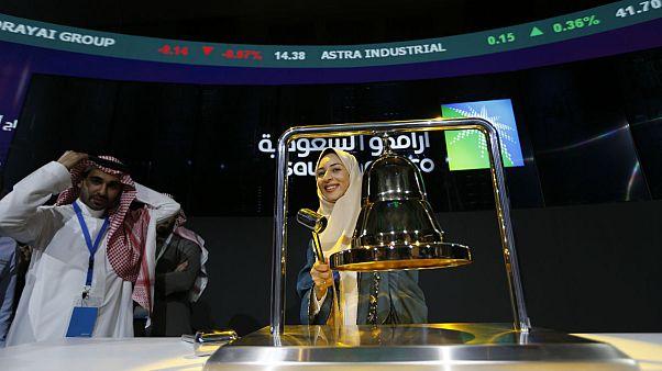 مراسم آغاز معاملات سهام شرکت نفت عربستان(آٰرامکو) در بورس ریاض(تداول)