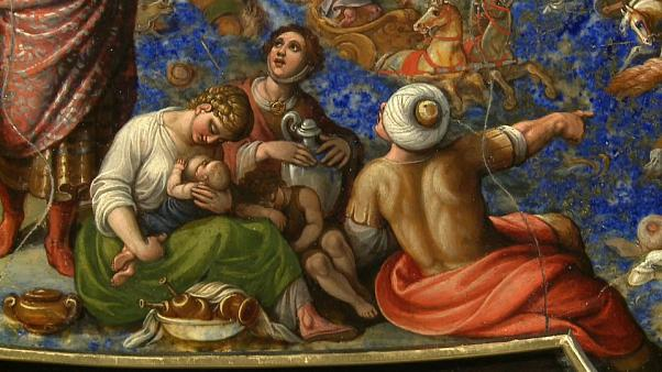 Exposta pintura em pedra preciosa de Antonio Tempesta