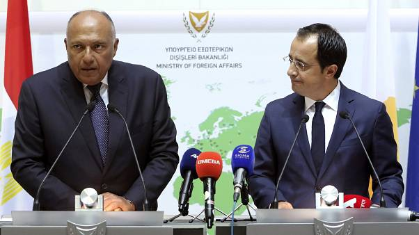 Egypt's foreign minister Sameh Shoukry, and his Cyprus' counterpart Nikos Christodoulides