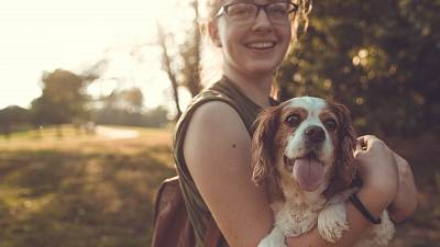 Dog and female owner