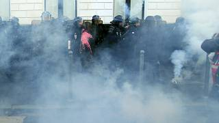 FILE PHOTO: Police officers during a demonstration Thursday, Jan. 16, 2020 in Lille, northern France.