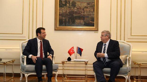 İBB Başkanı İmamoğlu, AP Türkiye Raportörü Amor'u konuk etti