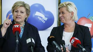 Erna Solberg (left) to lead a minority government after Siv Jensen's (right) Progress Party quits coalition