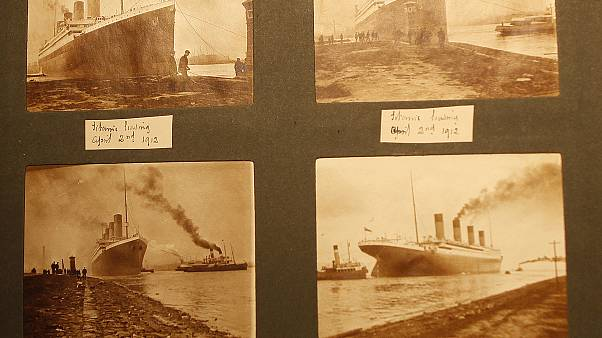 Photos of the Titanic from a family album displayed at the Transport museum in Belfast, Northern Ireland, UK, October 2014.