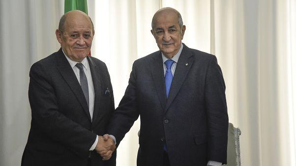 صورة تجمع الرئيس الجزائري عبد المجيد تبون و وزير الخارجية الفرنسي