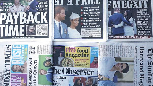 The front pages of London's Sunday newspapers are displayed in London, Sunday, Jan. 19, 2020.(AP Photo/Frank Augstein)