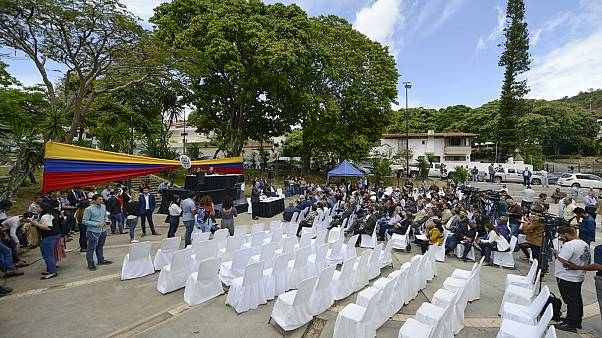 جانب من الجلسة التشريعية التي يعقدها نواب المعارضة دون حضور المشرعين المتحالفين مع الحكومة في كاراكاس، 21 يناير 2020