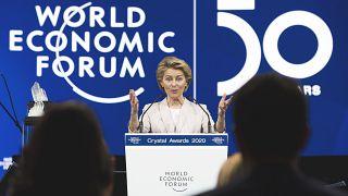 President of the European Commission Ursula von der Leyen, delivers a welcoming address, prior to the start of the World Economic Forum, in Davos, Switzerland
