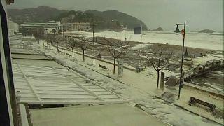 Storm whips up sea foam on Catalan coast