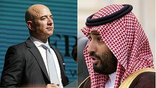Jeff Bezos, CEO of Amazon (L), Saudi Arabia's Crown Prince Mohammed bin Salman (R)