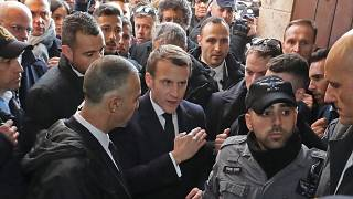 شاهد: مشادة بين الرئيس الفرنسي وعناصر الشرطة الإسرائيلية في القدس القديمة