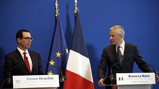 France's Economy Minister Bruno Le Maire, right, and U.S. Treasury Secretary Steven Mnuchin on Wednesday, Feb. 27, 2019.