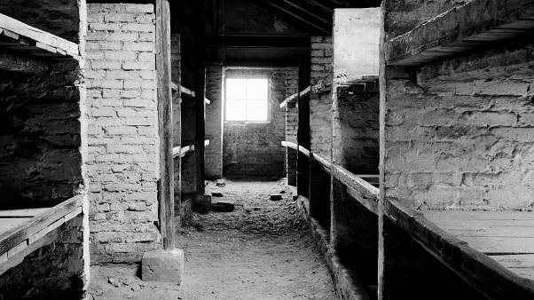 A view inside a prisoner barracks in the former Nazi death camp of Auschwitz Birkenau or Auschwitz II in Oswiecim, Poland. 8 December 2019.