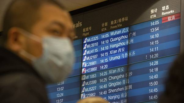 Un des panneaux d'affichage de l'aéroport de Pékin indiquant l'annulation d'un vol en provenance de Wuhan, le 23 janvier 2020.