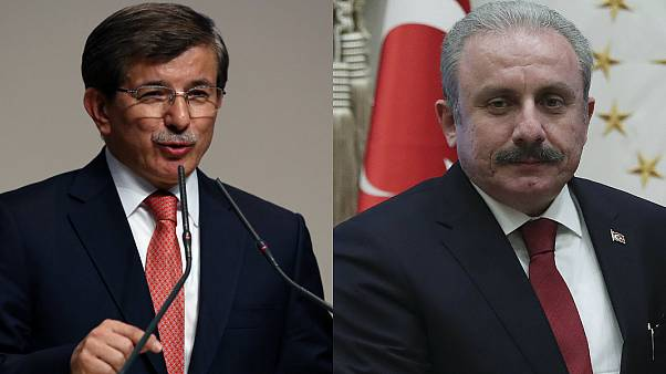 Gelecek Partisi Genel Başkanı Ahmet Davutoğlu, TBMM Başkanı Mustafa Şentop