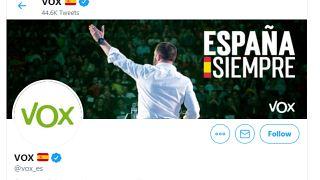 Portada de la cuenta del partido de la ultraderecha de España Vox