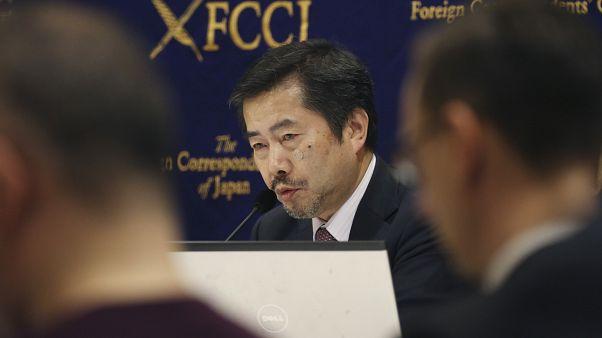 نوبوهو غوهارا ، المدَعي العام السابق الذي كان يعمل على ملف  كارلوس غصن ، خلال مؤتمر صحفي في طوكيو ، الأربعاء ، 22 يناير ، 2020.