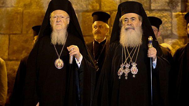 Fener Rum Patriği Bartholomeos ve Kudüs Rum Ortodoks Patriği 3. Teofilos