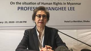 المفوضة الخاصة لدى الأمم المتحدة يانغهي لي خلال مؤتمر صحفي في بنغلاداش/دكا،  يوم الخميس 23 يناير 2020.
