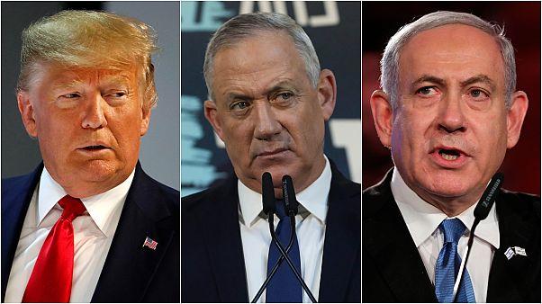 ABD Başkanı Trump (sol), İsrail Başbakanı Netanyahu (sağ) ve Mavi-Beyaz İttifakı lideri Gantz (orta)