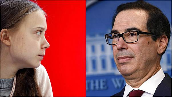 Greta Thunberg (left) and US finance chief Steven Mnuchin (right)