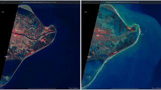 El delta del Ebro en agosto, y el día 23 de enero, inundado por completo