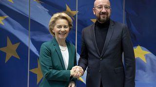 European Commission President Ursula von der Leyen and European Council President Charles Michel in Brussels, Jan. 17, 2020. (AP Photo/Virginia Mayo)